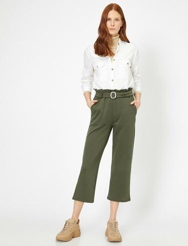 Koton Kemer Detaylı Pantolon Yeşil
